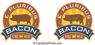 Bacon emblem featuring the words, %u201CE Pluribus Bacon,%u201D and %u201CKing of Meat%u201D. Includes clean and grunge versions.