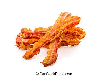 Freshly fried bacon served on white underground