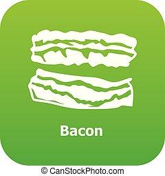 Bacon icon green vector