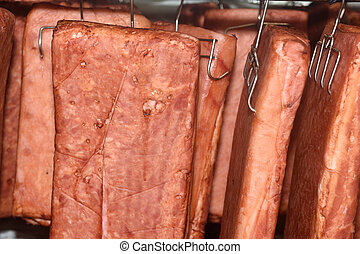 bacon in the oven of a meat industry
