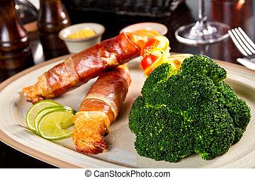 bacon, indpakket, laks
