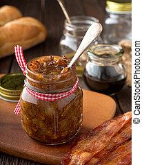 A jar of delicious home made bacon jam relish.