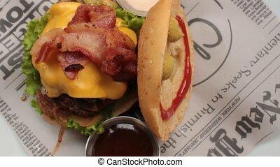 Bacon On Cheeseburger Sandwich