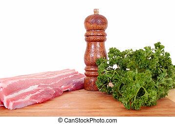 Bacon on cutting board