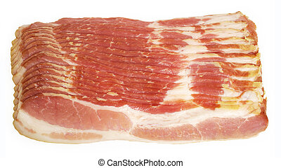 Raw bacon is displayed
