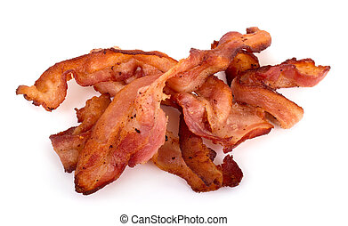 bacon slices over white background