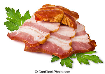 Smoked pork brisket and green leaves of parsley on a white background