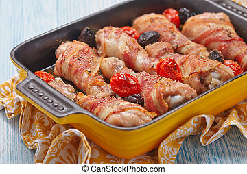 Bacon wrapped chicken legs
