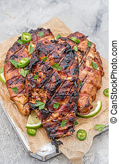 Bacon wrapped grilled chicken breast