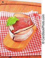Bacon-wrapped pork fillet