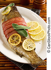 Bacon wrapped trout