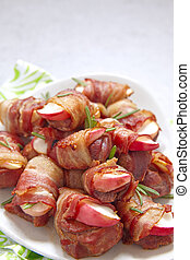 Bacon wrapped turkey and apple