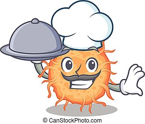 bactérias, alimento, caricatura, bandeja, personagem, endospore, servindo, cozinheiro