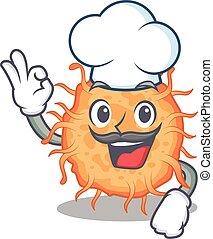 bactérias, branca, caricatura, estilo, chapéu, desenho, endospore, desgastar, cozinheiro