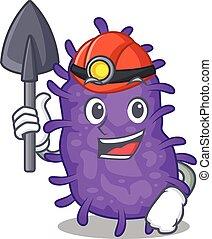 bactérias, caricatura, capacete, ferramenta, desenho, bacilli, conceito, mineiro