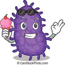 bactérias, caricatura, creme, conceito, tendo, desenho, bacilli, gelo