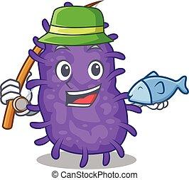 bactérias, caricatura, desenho, enquanto, bacilli, conceito, pesca