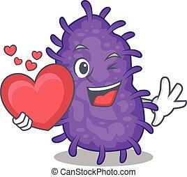 bactérias, caricatura, estilo, coração, personagem, doce, bacilli