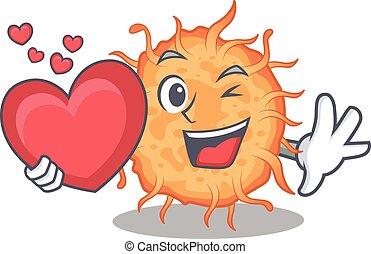 bactérias, caricatura, estilo, coração, personagem, doce, endospore
