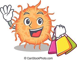 bactérias, caricatura, famosos, ricos, personagem, shopping, segurando, sacolas, endospore