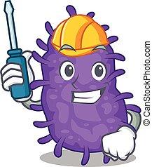 bactérias, caricatura, personagem, trabalhado, bacilli, automóvel