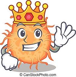 bactérias, estilo, rei, desenho, sábio, endospore, mascote