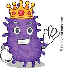 bactérias, estilo, rei, desenho, sábio, mascote, bacilli