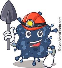 bactérias, neisseria, ferramenta, conceito, capacete, caricatura, mineiro, desenho