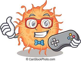 bactérias, usando, controlador, desenho, endospore, mascote, conceito, gamer