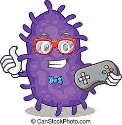 bactérias, usando, controlador, desenho, mascote, bacilli, conceito, gamer