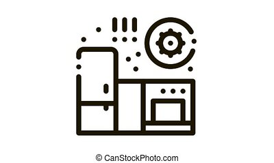 bactérie, nuisible, animation, icône, cuisine