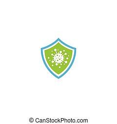 bactérien, icône, virus