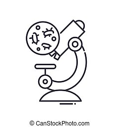 Bacteria analysis icon, linear isolated illustration, thin line vector, web design sign, outline concept symbol with editable stroke on white background.