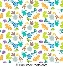 Bacteria and virus seamless pattern