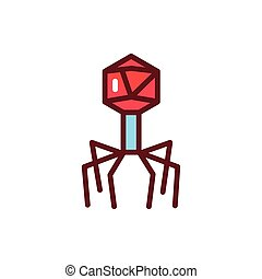 Bacteria bacteriophage color line icon. Vector illustration