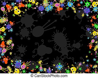 bacteria border - Bacteria germ buggy things forming a page...