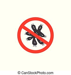 Bacteria cell in prohibitory road sign, vector graphic illustration isolated.