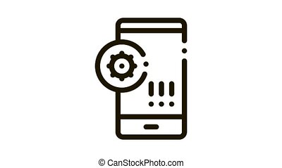 bacteria detection on mobile phone Icon Animation. black bacteria detection on mobile phone animated icon on white background