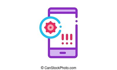 bacteria detection on mobile phone Icon Animation. color bacteria detection on mobile phone animated icon on white background