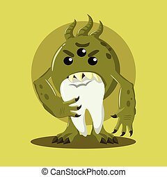 bacteria eating tooth