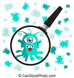 Bacteria - Germs with Magnifying Glass. Vector.
