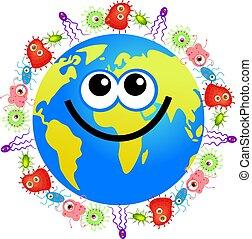 bacteria globe - Happy cartoon world globe surrounded by...