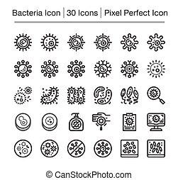 bacteria icon - bacteria line icon set