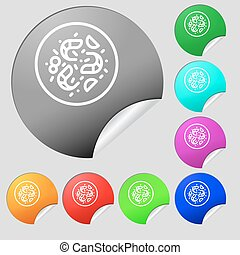 bacteria icon sign. Set of eight multi colored round buttons, stickers. Vector