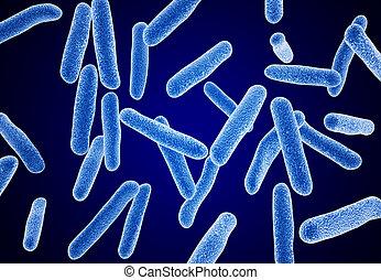 blue bacteria. micro object. microscope.