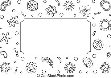 Bacteria microbiology outline frame. Vector illustration -...