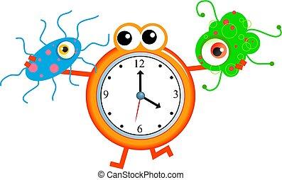 bacteria time - Cartoon clock man holding a germ virus in...