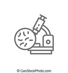 Bacteria under the microscope, probiotics line icon.
