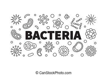 Bacteria vector horizontal banner. Concept outline...