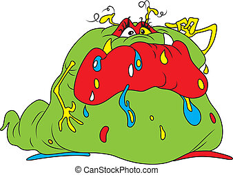 Bacteria - Vector illustration of ugly fat green bacteria